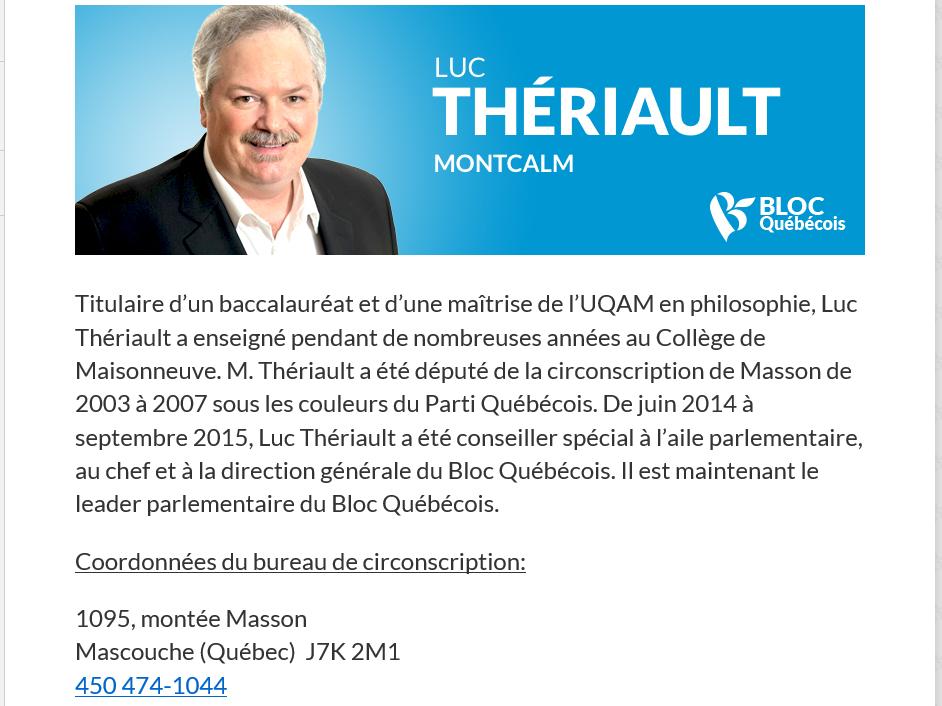 Luc Thériault Député